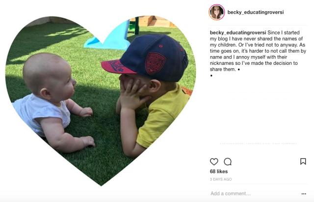 Instagram screenshot - baby names